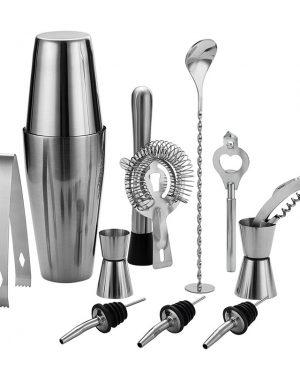 Cocktail shaker set bestaande uit 12 items, alle benodighdeheden voor het maken van een cocktail