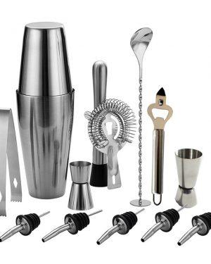 Cocktail shaker set bestaande uit 13 items, alle benodighdeheden voor het maken van een cocktail