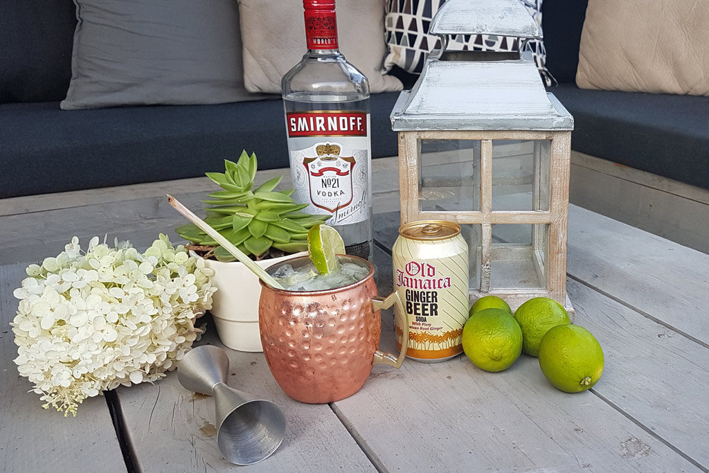 Moscow Mule een cocktail op basis van wodka en gember bier